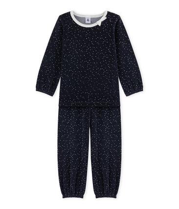 Girl's terry velour pyjamas Smoking blue / Argent grey