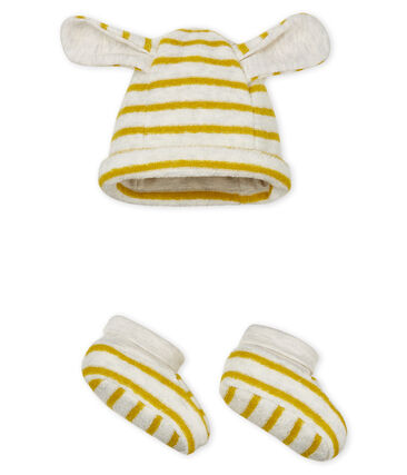 Unisex baby striped bonnet and bootees . set