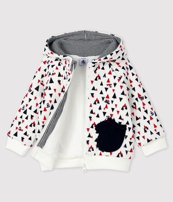 Baby boy's hooded sweatshirt Marshmallow white / Multico white