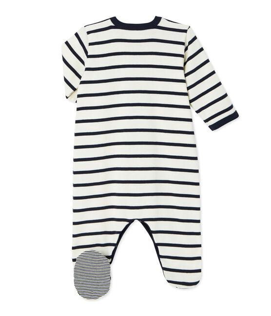Babies' Velour Sleepsuit Coquille beige / Smoking blue