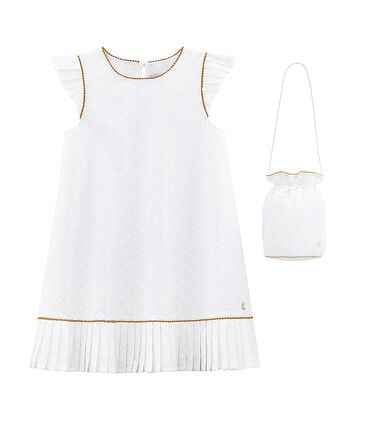 Baby Girls' Special Occasion Dress and Bag Ecume white