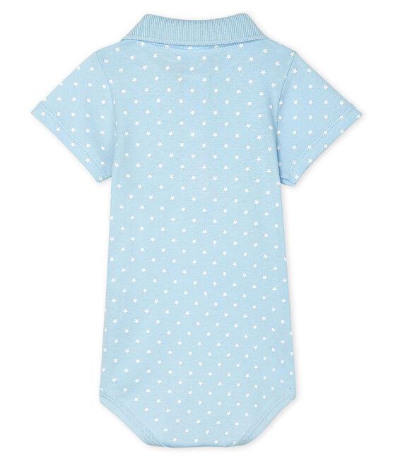 Baby Boys' Print Bodysuit with Polo Shirt Collar Fraicheur blue / Marshmallow white