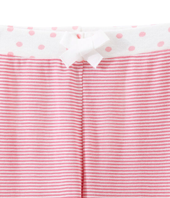 Little girl's pyjama bottoms Cheek pink / Marshmallow white