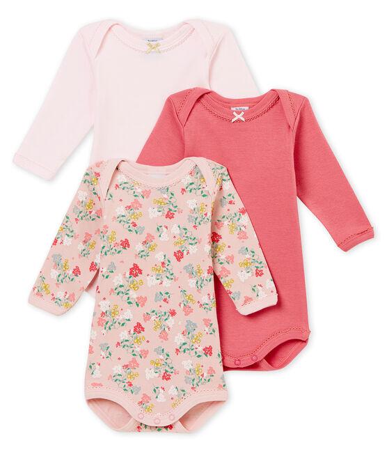 Baby girl's long sleeved body trio . set