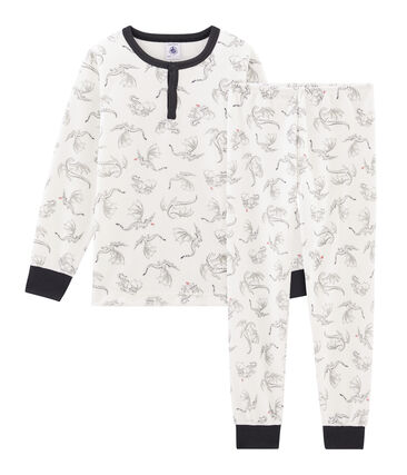 Boys' Velour Pyjamas Marshmallow white / Multico white