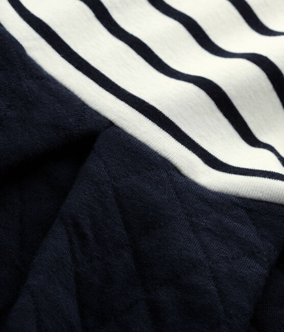 Girl's dual fabric dress Coquille beige / Smoking blue