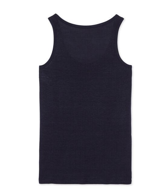 Women's linen vest top Smoking blue