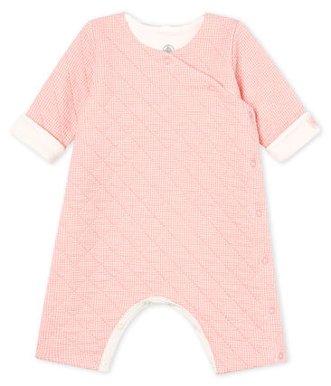 Babies' Long Jumpsuit in Quilted Tube Knit Charme pink / Marshmallow Cn white