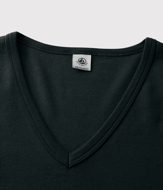 Women's iconic V-neck T-shirt Noir black