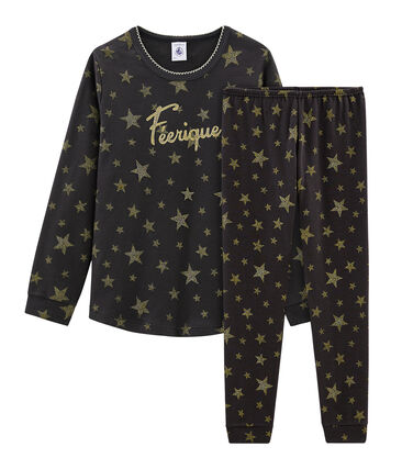 Girls' Ribbed Pyjamas Capecod grey / Or yellow
