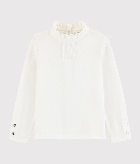 Girls' ruff collar T-shirt Marshmallow white