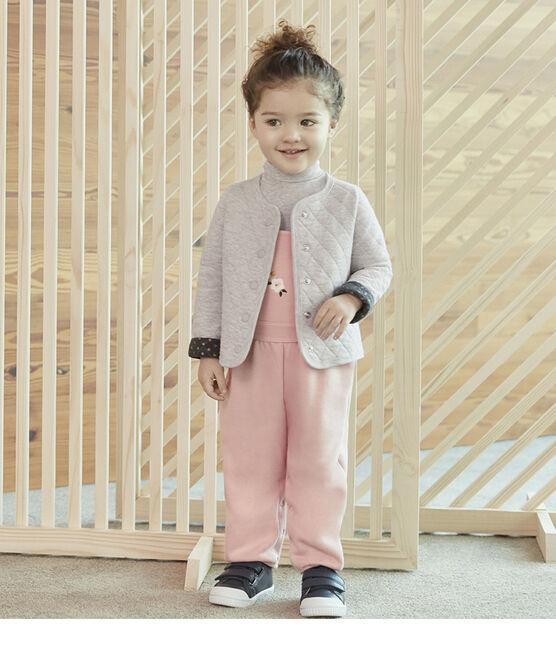 Baby Girls' Quilted Tube Knit Cardigan Beluga grey