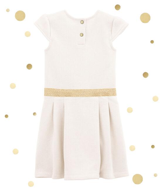 Cotton sweatshirt dress Marshmallow white / Dore yellow