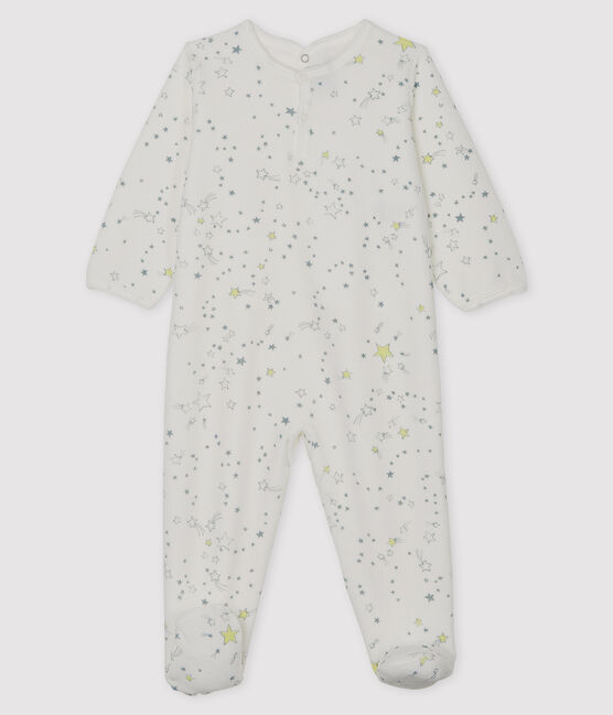 Baby Boys' Velour Sleepsuit Marshmallow white / Multico white