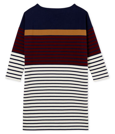 Women's dress with placed stripe Smoking blue / Ogre red