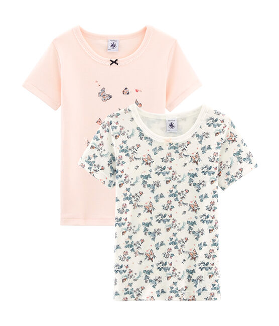 Girls' Short-sleeved T-shirt in Cotton - Set of 2 . set