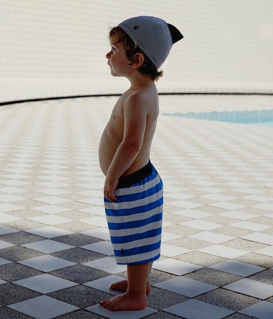 Baby boys' striped beach shorts Riyadh blue / Marshmallow white