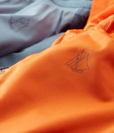 Baby boys' reversible windbreaker Carotte orange / Fontaine blue