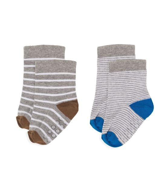Baby Boys' Socks - 2-Piece Set Marshmallow white / Subway grey