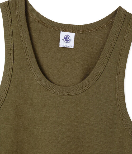 Women's vest top in heritage rib Shitake brown