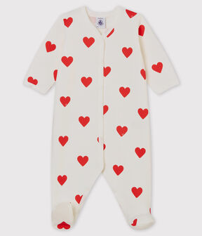 Baby Red Heart Fleece Sleepsuit Marshmallow white / Terkuit red