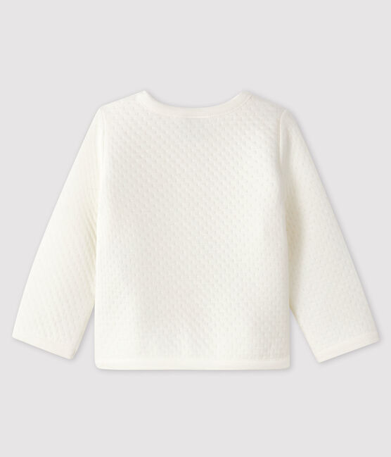 Baby girl's tubular knit cardigan Marshmallow white