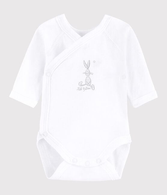Unisex Babies' Short-Sleeved Wrapover Bodysuit Ecume white