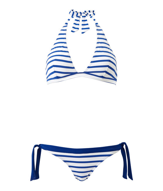Women's striped two-piece swimsuit Marshmallow white / Perse blue