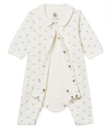Baby boys' footless bodyjama in printed 1x1 rib knit Marshmallow white / Multico white