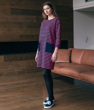 Women's Long-Sleeved Dress Smoking blue / Signal red