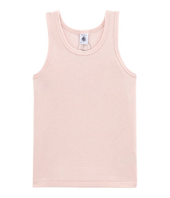 Little girl's vest top in wool and cotton Joli pink