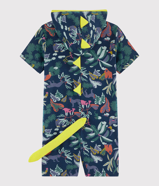 Boys' Dinosaur Ribbed Jumpsuit Medieval blue / Multico white