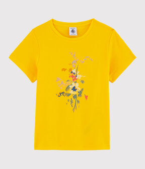 Girls' Short-Sleeved Cotton T-Shirt Shine yellow