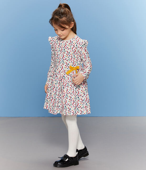Girls' Print Dress Marshmallow white / Multico white
