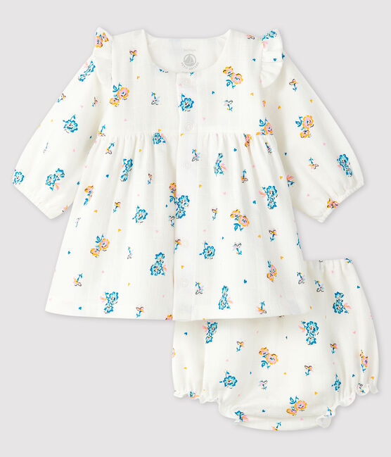 Long-sleeved floral dress with baby girl bloomers in nappy fabric Marshmallow white / Multico white
