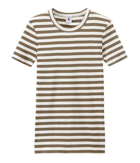 Women's T-shirt in heritage striped rib Shitake brown / Marshmallow white