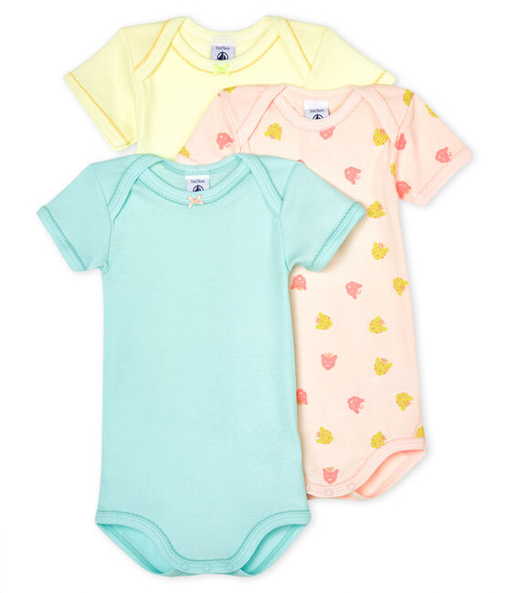 Baby girls' short-sleeved panther bodysuit - Set of 3 . set