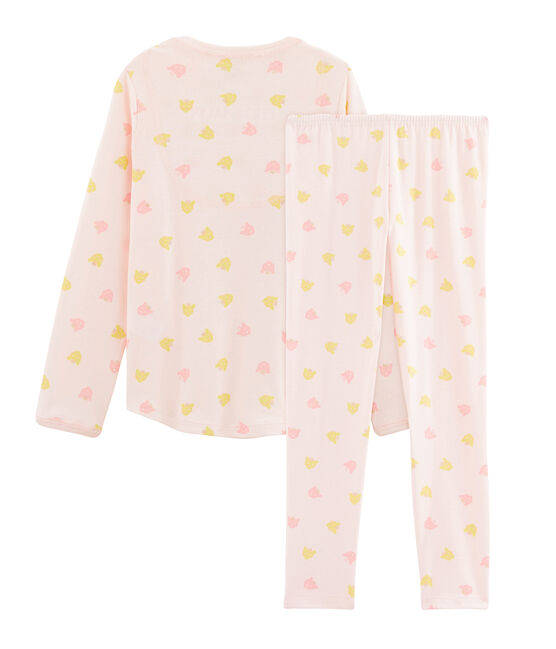 Girls' Ribbed Pyjamas Fleur pink / Multico white