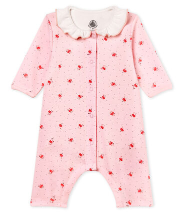 Baby girls' footless bodyjama in printed 1x1 rib knit Vienne pink / Multico white
