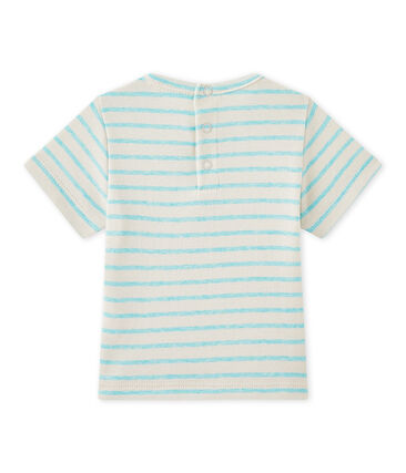 Baby boy's striped short-sleeved T-shirt Feta white / Adventure green