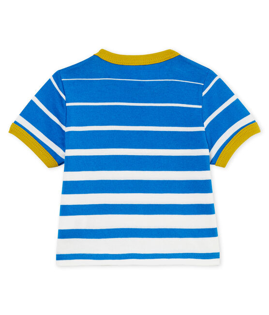 Baby boys' striped t-shirt Riyadh blue / Marshmallow white