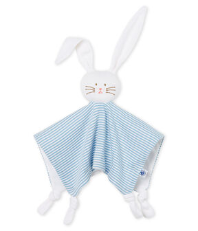 Babies' Ribbed Bunny Comforter Acier blue / Marshmallow white