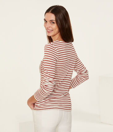 Women's long-sleeved iconic linen t-shirt Marshmallow white / Copper pink