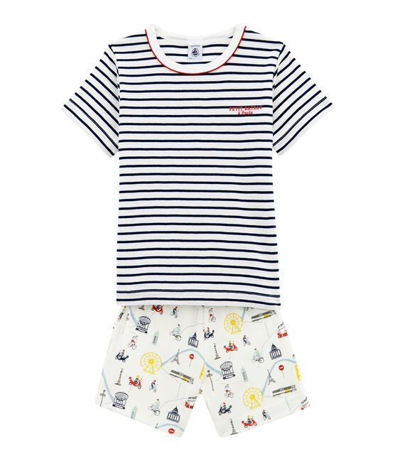 Little boy's short pyjamas Marshmallow white / Multico white