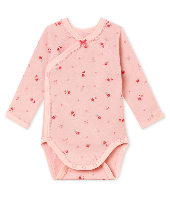 Newborn baby girl's long sleeved body Joli pink / Multico white