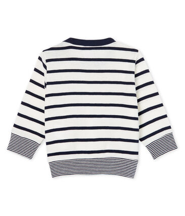 Baby Boys' Sailor Striped Long-Sleeved T-Shirt Marshmallow white / Smoking blue