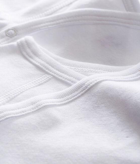 Set of 2 babies' white long-sleeved newborn bodysuits . set