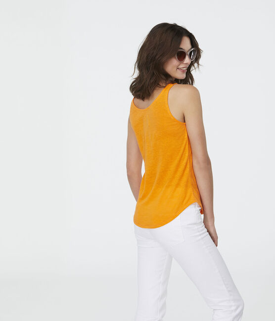 Women's Linen Vest Tiger orange