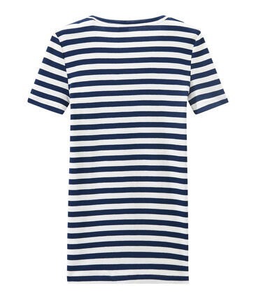 Women's striped original rib V-neck T-shirt Medieval blue / Marshmallow white