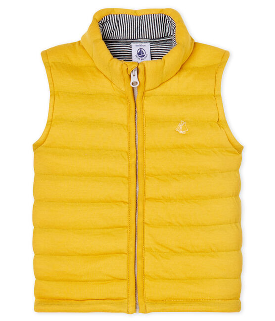 Unisex Baby Sleeveless Jacket in Quilted Tube Knit Boudor yellow